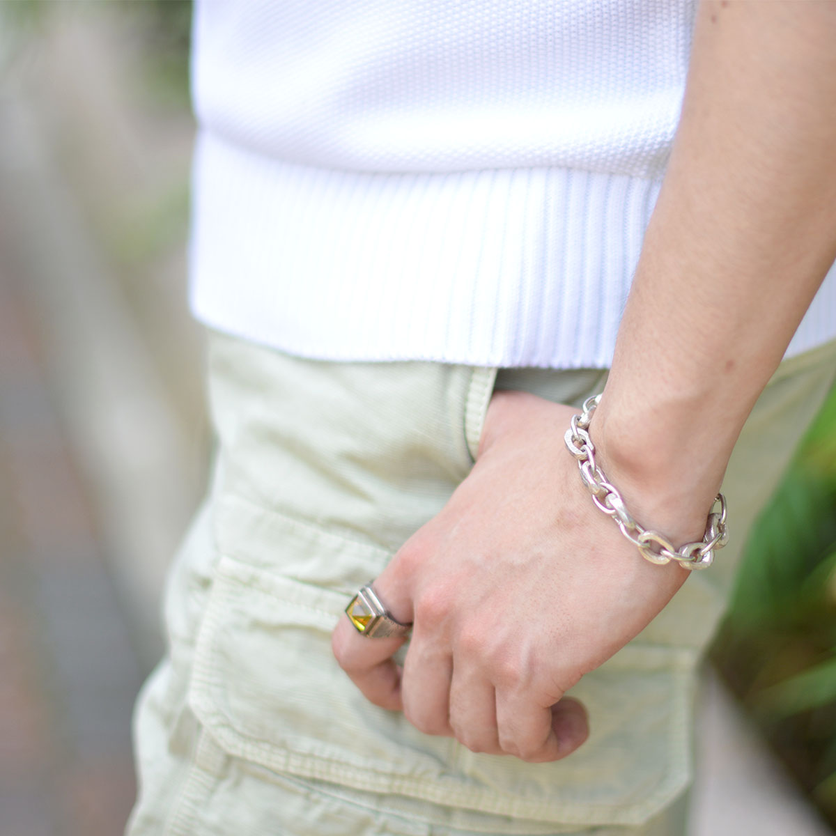 Henson【ヘンソン】 ブレスレット CARVED LINKS CHAIN BRACELET silver(シルバー)