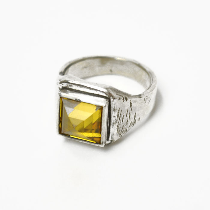 Henson【ヘンソン】 リング SMALL SQUARE RING SILVER(シルバー×イエロー)